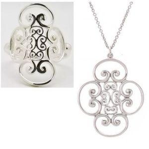Set! Auth. Tiffany Venezia Silver Necklace & Ring